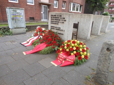 Mahnmal für die getöteten Gewerkschafter vor dem Haus Ruhrorter Straße 11