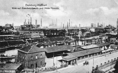 Eisenbahnhafen und Hütte Phoenix in Ruhrort um 1918. Foto: ZZB.
