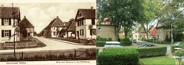 Blick vom Heimweg in den Birkenweg in Wedau um 1920 und heute. Fotos: Zeitzeugenbörse Duisburg.