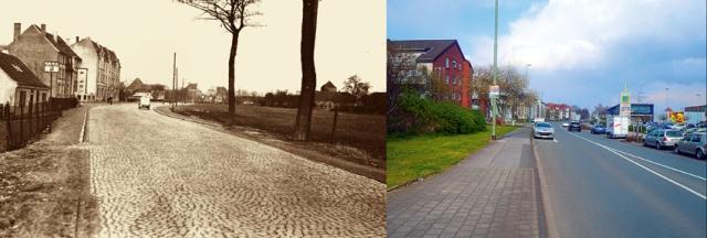 Früher freies Feld, heute Einkaufswelt bei Edeka am Angerbogen. In Hintergrund erkennt man rechts die Turmspitze vom Steinhof. Fotos: Zeitzeugenbörse Duisburg.