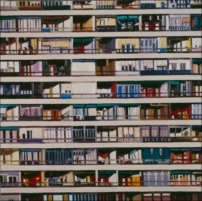 Ralph Fleck: Av. Donostiarra, 2002, Öl auf Leinwand, 200 x 200 cm, Privatsammlung © VG Bild-Kunst, Bonn 2015. Foto: Henning Krause, Freiburg.