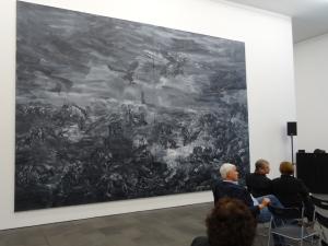 "Yan Pei-Ming (*1960): ""A L'Est d'Eden"" (Jenseits von Eden), Diptychon, Öl auf Leinwand, 2015. Foto: Petra Grünendahl."
