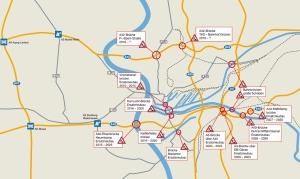 Infrastrukturprobleme: Marode Brücken im Raum Duisburg. Grafik: Niederrheinische IHK.