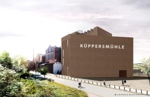Erweiterung des MKM Museum Küppersmühle für Moderne Kunst im Duisburger Innenhafen hier vom Philosophenweg aus gesehen. Foto: © Herzog & de Meuron.