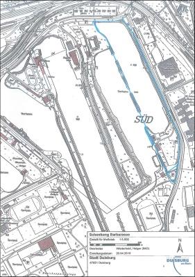 Das blau umrandete Gebiet markiert die Fläche der Schenkung. Karte: Stadt Duisburg.