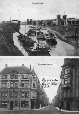 Oben Kultushafen mit Eisenbahnbrücke, unten Blick von der Wanheimerstraße in die Schmiedestraße, an deren Ende man zur rechten Straßenseite hin die Evanglische Volksschule erkennt.