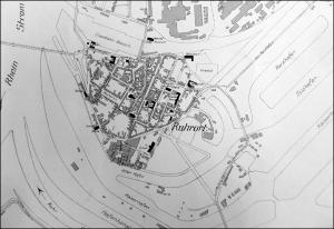 """Ausschnitt der Übersichtskarte der Stadt Duisburg 1912 in Zeitzeugenbörse Duisburg e. V. """"Ruhrort in alten Fotografien"""", © Reinhold Stausberg / Sutton Verlag."""