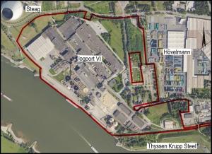 Luftbild des Areals der Pappierfabrik in Walsum. Foto: Duisburger Hafen AG.
