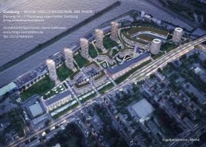 Neuplanung Wohn- und Gewerbepark Wanheimer Straße 270 - 276 in Wanheimerort. Foto: Horst Gaßmann.