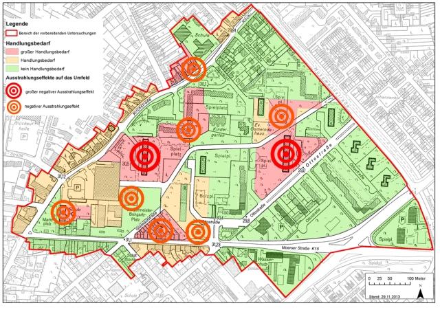 Handlungsbedarf im Stadtteil Homberg-Hochheide: die Hochhäuser Friedrich-Ebert-Straße 10-16 (roter Punkt links) und Ottostraße 24-30 (roter Punkt rechts) sollen abgerissen werden. Grafik: Stadt Duisburg.